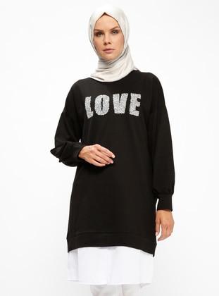 Taş Baskılı Tunik - Siyah - PİLİSE Ürün Resmi