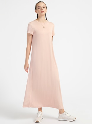 5fb1ca3185992 2 135 cm Doğal Kumaştan Kısa Kollu Elbise - Soğan Kabuğu Everyday Basic