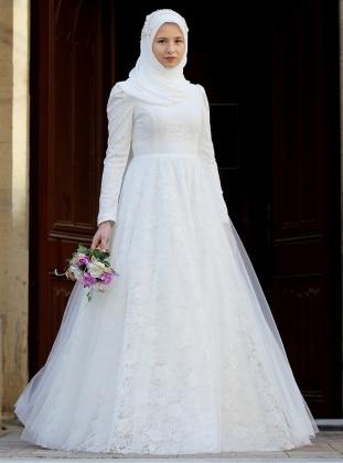 b6790693cef0f Beyaz Tesettür Abiye Modelleri ve Fiyatları - Modanisa.com