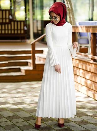 White - Crew neck - Dresses - İnşirah