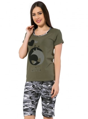 Gray - Khaki - Short Set - AKBENİZ