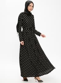Puantiyeli Elbise - Siyah - Dadali