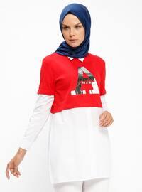 Gömlek Detaylı Tunik - Kırmızı - PİLİSE