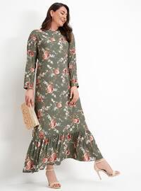 Çiçekli Elbise - Haki - Alia