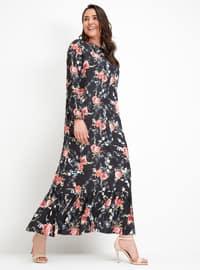 Çiçekli Elbise - Siyah - Alia