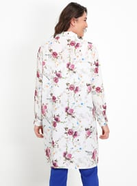 White - Floral - Point Collar - Plus Size Tunic