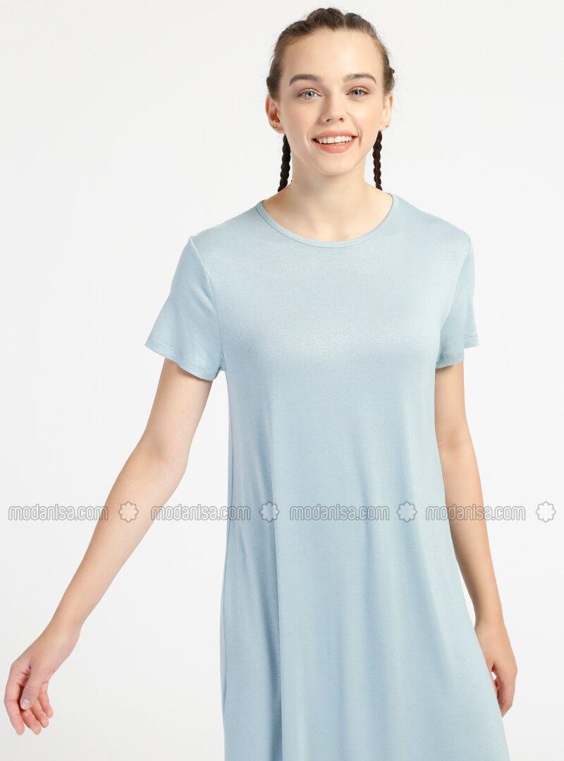 79dcb126803c1 135 cm Doğal Kumaştan Kısa Kollu Elbise - Açık Mavi