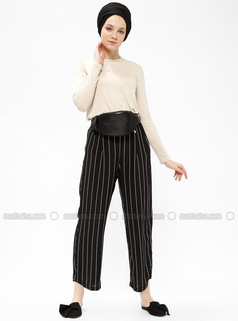 Black - White - Stripe - Pants