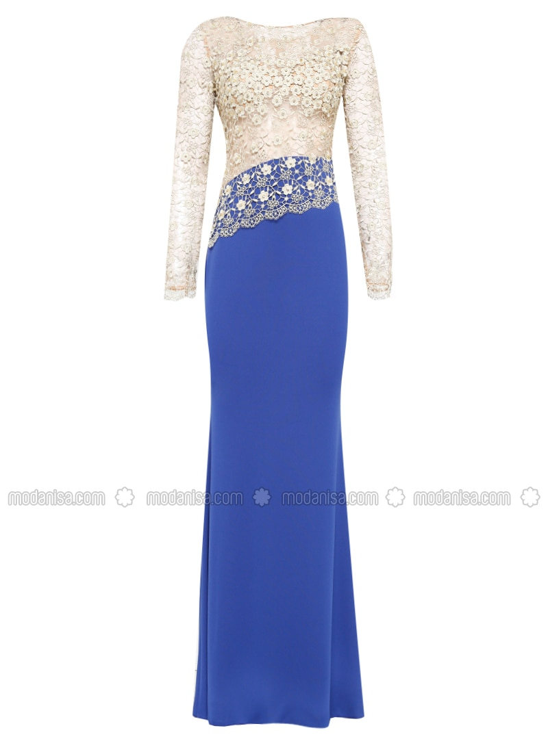 Saxe - Gold - Fully Lined - Crew neck - Muslim Evening Dress