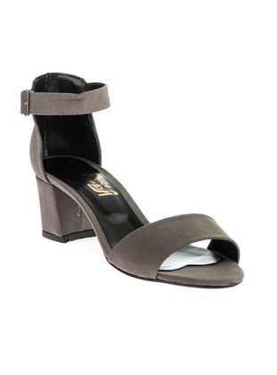 Topuklu Ayakkabı - Gri Nubuk - Pembe Potin Ürün Resmi
