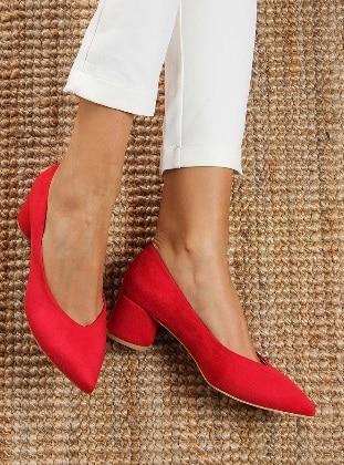 Topuklu Ayakkabı - Kırmızı Süet - Shoestime Ürün Resmi