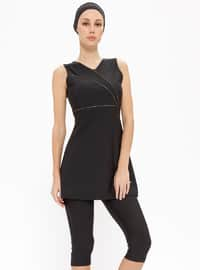 Black - Fully Lined - Half Covered Switsuits