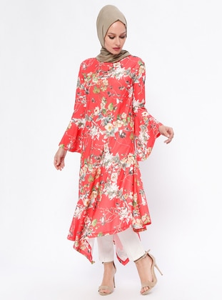Coral – Floral – Crew Neck – Tunic – Rtw Trend