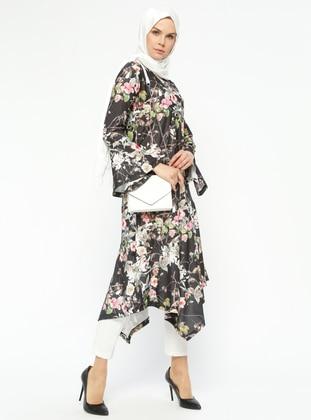 Black – Floral – Crew Neck – Tunic – Rtw Trend