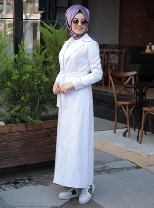 White - Lilac - Stripe - Fully Lined - Shawl Collar - Jacket