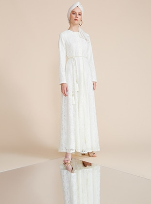 White - Ecru - Crew neck - Fully Lined - Dresses