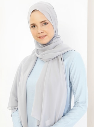 Light Gray - Plain - Chiffon - Halima Shawl - Şal