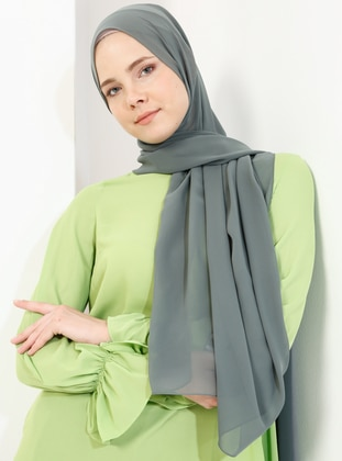 Green - Plain - Chiffon - Shawl