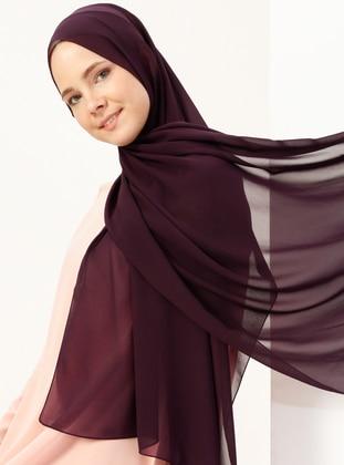 Plum - Plain - Chiffon - Halima Shawl