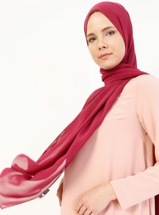 Maroon - Plain - Chiffon - Halima Shawl