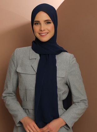 Navy Blue - Plain - Chiffon - Halima Shawl - Şal