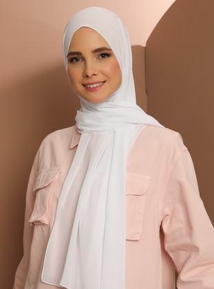 White - Plain - Chiffon - Halima Shawl -  Şal