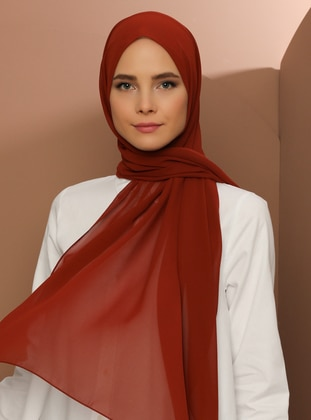 Brick Red - Plain - Chiffon -Halima Shawl - Şal