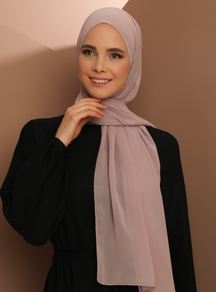 Powder - Plain - Chiffon - Halima Shawl -  Şal