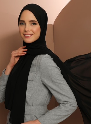 Black - Plain - Chiffon - Shawl -  Şal