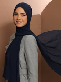 Navy Blue - Plain - Chiffon - Halima Shawl - Şal