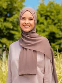 Mink - Plain - Chiffon - Halima Shawl - Şal