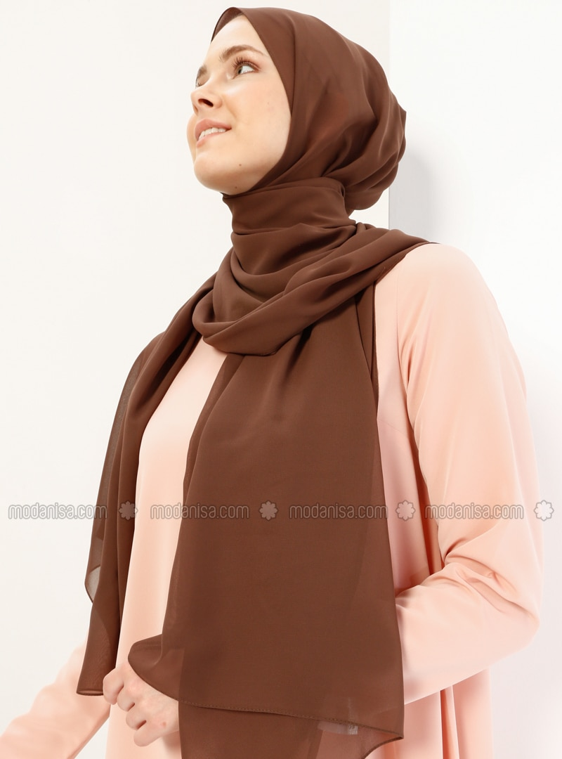 Brown - Plain - Chiffon - Halima Shawl - Şal