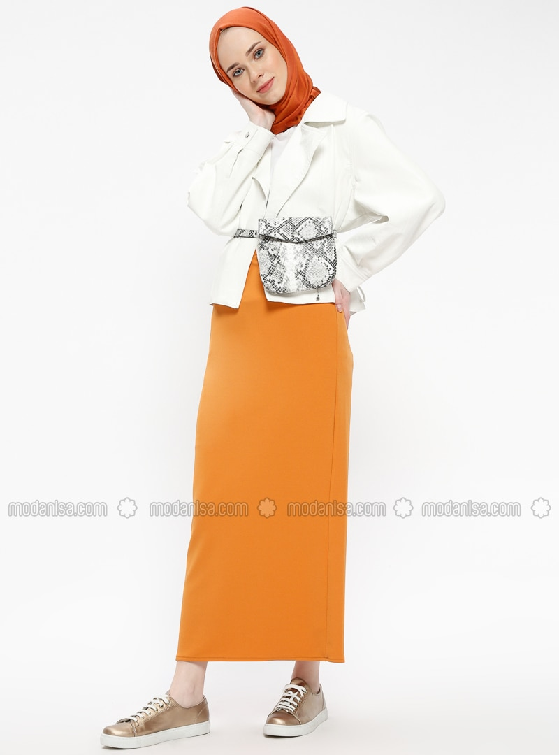 Orange - Unlined - Skirt