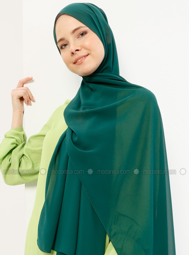 Emerald Green - Plain - Chiffon - Halima Shawl - Şal