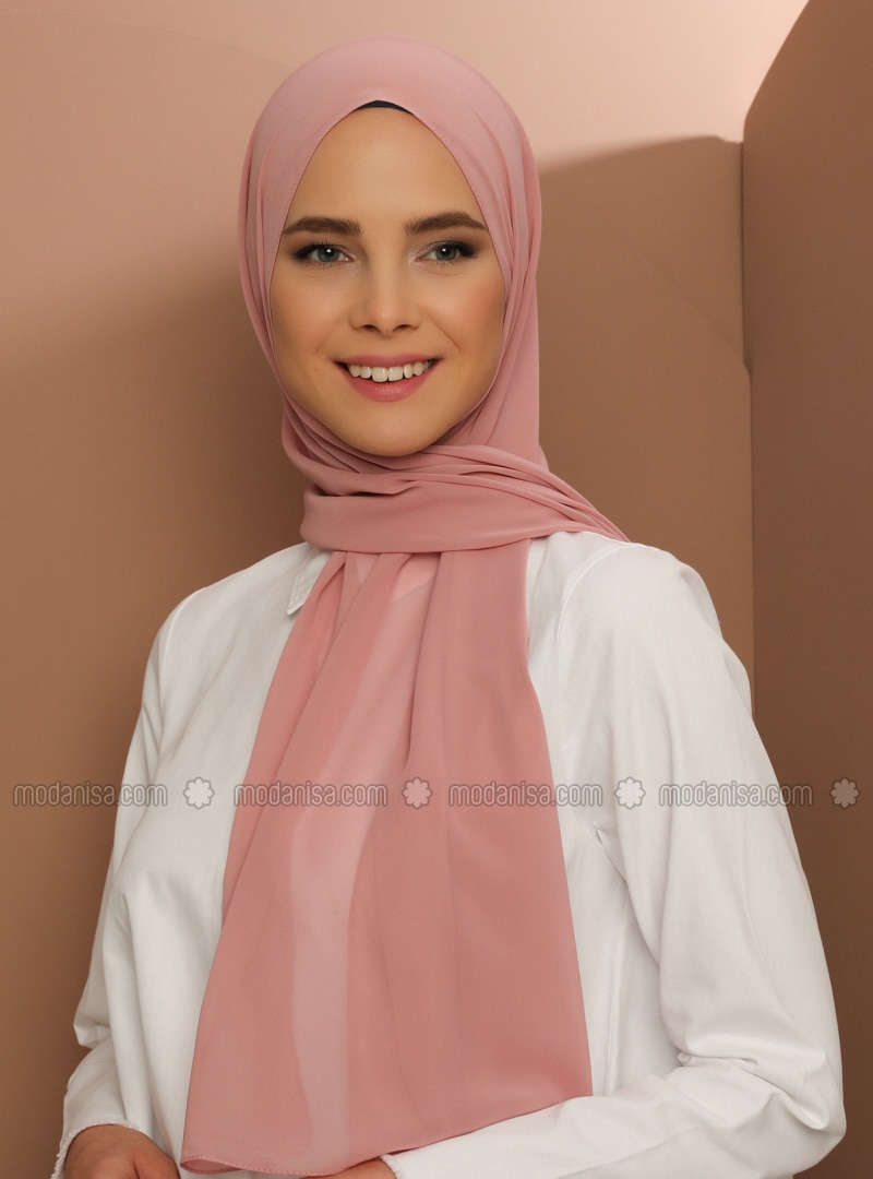 Dusty Rose - Plain - Chiffon - Halima Shawl - Şal