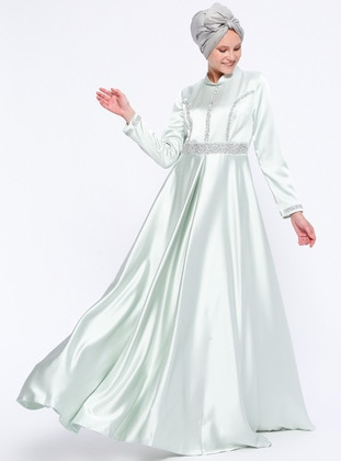 Mint - Fully Lined - Point Collar - Muslim Evening Dress