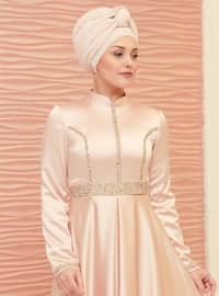 Powder - Fully Lined - Point Collar - Muslim Evening Dress