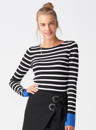Black - White - Purple - Stripe - Crew neck - Knitwear - Dilvin 425976