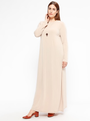 Gold - Unlined - Crew neck - Plus Size Dress
