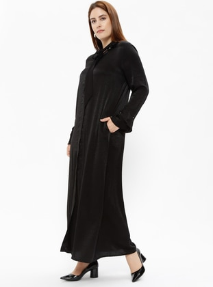 Black - Unlined - Polo neck - Plus Size Coat