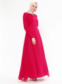 Pink - Fuchsia - Fully Lined - Polo neck - Muslim Evening Dress