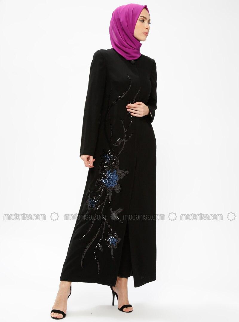 Black - Saxe - Unlined - Crew neck - Abaya