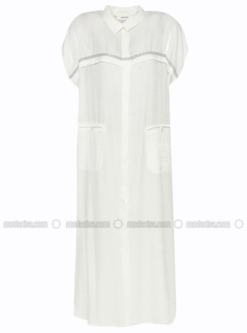 White - Ecru - Unlined - Crew neck - Vest
