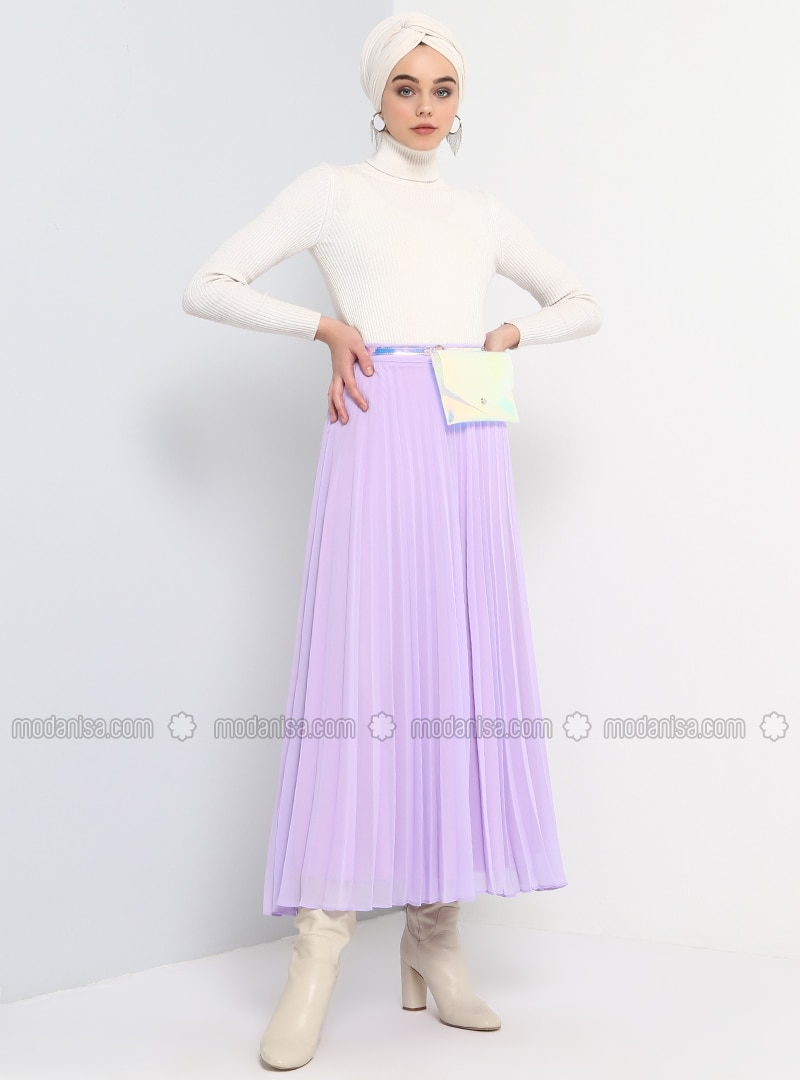 Purple   Lilac   Fully Lined   Skirt by Modanisa