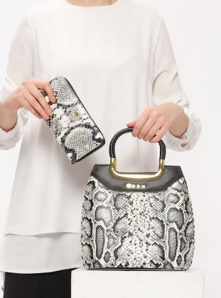 Sitill Çanta&Cüzdan Takım - Beyaz Siyah