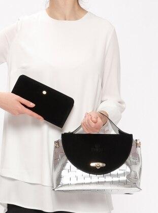 Sitill Çanta&Cüzdan Takım - Gümüş Siyah