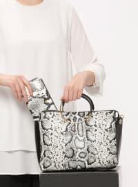 Çanta&Cüzdan Takım - Beyaz Siyah - Sitill