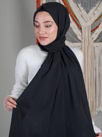 Black - Gray - Plain - Cotton - Shawl