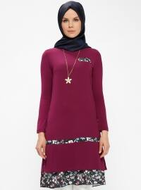 Pink - Purple - Crew neck - Tunic