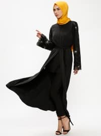 Black - Silver tone - Unlined - Crew neck - Abaya